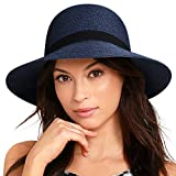 FURTALK Women Wide Brim Sun Hat Summer Beach Cap UPF50 UV Packable Straw Hat for Travel (Medium Size (22.1''-22.6''), Adult NormalBrim New-Navy Blue)