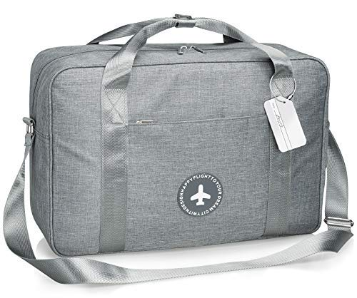 Trolley Travel Bag - Weekender BagLightweight Overnight Carry on Shoulder Bag with Tag and Strap in Trolley Handle