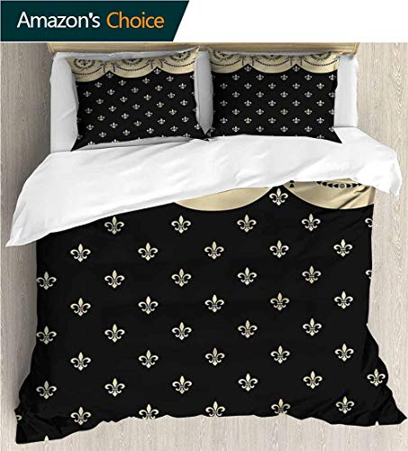 VROSELV-HOME Bedding Bedspread,Box Stitched,Soft,Breathable,Hypoallergenic,Fade Resistant Colorful Floral Print -3 Pieces-French Fleur De Lis Royal Ancient (68
