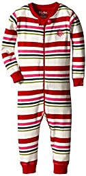 Hatley Baby Girls Newborn Sleepy Romper Holiday Stripes Cream, Red, 3-6 Months