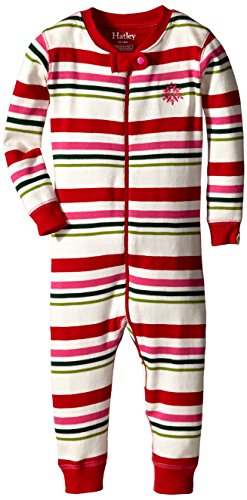 Hatley Baby Girls' Sleepy Romper Holiday Stripes Cream, Red, 12 18 Months