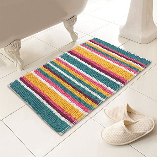 (Chenille Soft Touch Absorbent Microstripe Striped Heavy Weight Bath Mat Rug Bathroom Toilet Multi-Color)