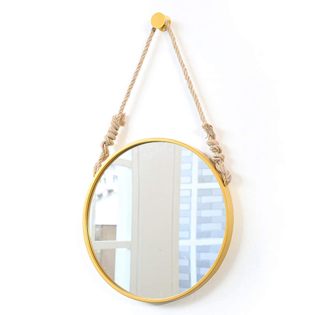 50cm(19.7in) Modern Round Vanity Mirrors golden Wall Hanging Makeup Mirror with Metal Frame Circle Large Shaving Mirror HD Plane Mirror with Hemp Rope