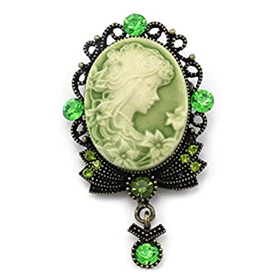 Cheap Green Cameo Brooch Pin Charm Style Necklace Pendant Compatible