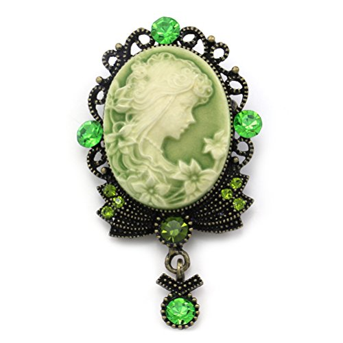 Green Cameo Brooch Pin Charm Style Necklace Pendant Compatible