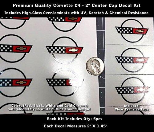 High Performance Vinyl Graphics LLC Corvette C4 Wheel Center Cap Decal Kit 5pcs Glossy UV Laminated 2
