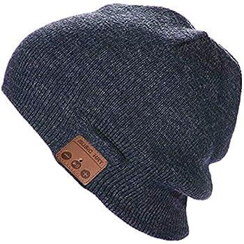 afa4152f5d9 Happy-top Bluetooth Music Soft Warm Beanie Hat Cap Stereo Headphone Headset  Speaker Wireless Mic Hands-Free Men Women Gift (Dark Grey)