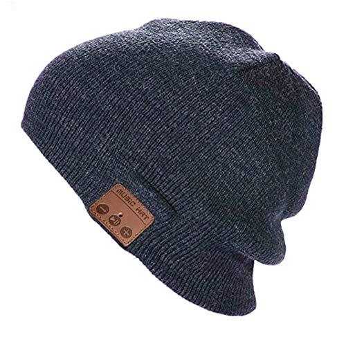Happy-top Bluetooth Music Soft Warm Beanie Hat Cap Stereo Headphone Headset Speaker Wireless Mic Hands-Free Men Women Gift (Dark Grey)