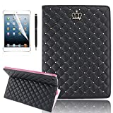 YiaMia iPad Air Cases, Luxury Pattern Heavy Duty, Rugged Bling Diamond Protective iPad 6 Tablet/iPad Air 2 Case, Leather Flip Smart Cover with Stand for Apple iPad Air [Stylus, Screen Protector, Cleaning Cloth] - (Black)
