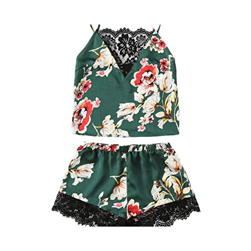 Floral Print Lace Cami Top and Shorts Satin Pajama for sale  Delivered anywhere in USA