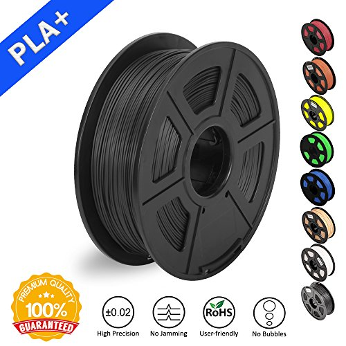 3D Printer Filament PLA Plus Black(more like grey),PLA Plus Filament 1.75 mm SUNLU,Low Odor Dimensional Accuracy +/- 0.02 mm,2.2 LBS (1KG) Spool for 3D Printers & 3D Pens,Black(more like grey) by SUNLU