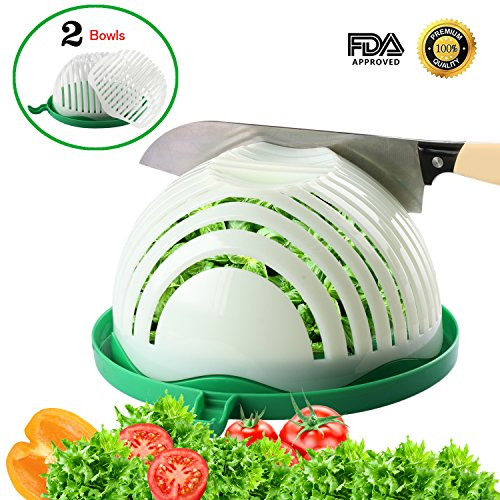 Salad Cutter Bowl with 2 Strainers Kitchen Salad Chopper with Cutting Board for Fast Fresh Vegetables Fruits Salad Maker in 60 Seconds Upgraded Family Sized Salad Slicer with Present Box by STSTECH (Cutter Salad)