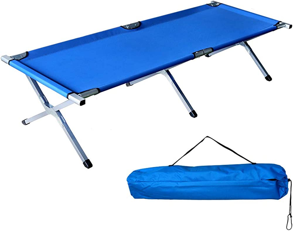 Sportneer Camping Cot, Max Load 450 LBS, 2 Side Large Pockets Portable Folding Camp Cots Sunbathing Lounger Bed with Carry Bag, for Camping, Beach, BBQ, Hiking, Backpacking, Office