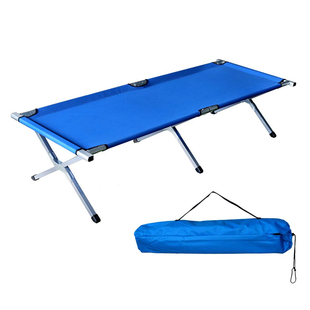 Cossy Home Folding Portable Camping Cot, Travel Military Adult Cot Bed (Blue) by Cossy Home