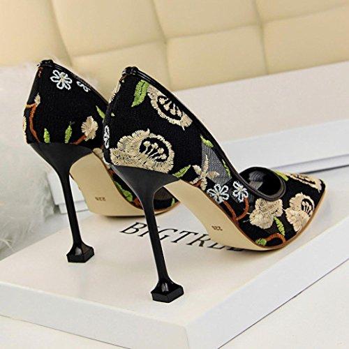 Talons Rouge Lace Escarpins Femmes Kaki Sandales Peu Bouche Plates Kaki Broderie Beige Chaussures Tourisme Hauts Bleu Noir Profonde x14qvqZH