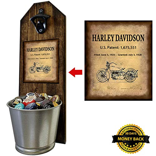 """Harley Davidson - Motorcycle Patent of Vintage Bike"" Wall Mounted Bottle Opener and Cap Catcher - Made of 100% Solid Pine 3/4"" Thick - Rustic Cast Iron Opener and Galvanized Bucket from CherryPic Junction"