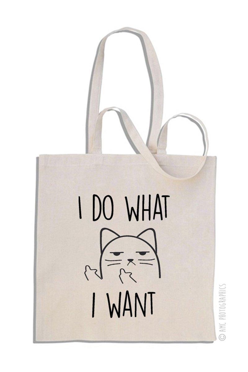 I Do What I Want - Gato Descorté s - Mango largo bolso de compras de algodó n