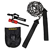 "SOS Gear Pocket Chainsaw and Fire Starter - Survival Hand Saw in Embroidered Pouch, Firestarter with Built in Compass & Whistle for Camping, Hunting & Fishing – Black Straps, 36"" Chain"