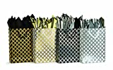 burton+BURTON 4 Large Gift Bags in Metallic Geometric Design with Metalized Polypropylene Tissue, colors Gold, Silver, Black, White