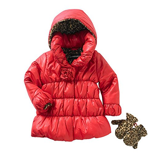 Rothschild Toddler Girls Red Puffer Coat Ski Jacket Leopard Print Mittens Set - Print Coat Rothschild