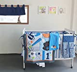 NAUGHTYBOSS Baby Bedding Set Cotton 3D Embroidery Ball Sport Quilt Bumper Bedskirt Mattress Cover Diaper Bag Window Curtain Blanket 10 Pieces Set Blue