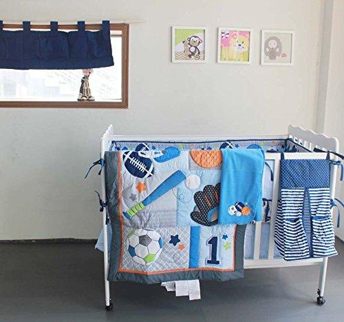 NAUGHTYBOSS Baby Bedding Set Cotton 3D Embroidery Ball Sport Quilt Bumper Bedskirt Mattress Cover Diaper Bag Window Curtain Blanket 10 Pieces Set Blue by NAUGHTYBOSS
