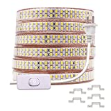 XUNATA 164ft Waterproof LED Strip Rope Light with Power Switch, Super Bright Double Row 12000 Units SMD 5730(5630 Upgraded) 110V Flexible Strip Lights for Home Garden Outdoor Decoration(Warm Whiht)
