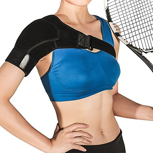 Shoulder Brace Rotator Cuff Support for Men and Women for Injury Prevention, Dislocated AC Joint, Arthritis, Tendonitis with Adjustable Strap, Pressure Pad + Breathable Neoprene by BusyBee (Image #1)