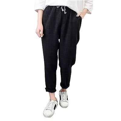A Cuadros de Cintura elástica para Mujer Pantalones Sueltos de Negocios Pantalones (Color : Negro, tamaño : 3X): Hogar
