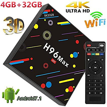 4GB RAM 32GB ROM H96 MAX Android 7 1 Smart TV Box RK3328 Quad Core  2 4GHz/5 0GHz WiFi BT4 0 VP9 H 265 UHD H96max 4K Player