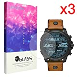 For Diesel Smartwatch Screen Protector, Lamshaw 9H Tempered Glass Screen Protector for Diesel On Full Guard Touchscreen Smartwatch DZT2002 (3 pack)