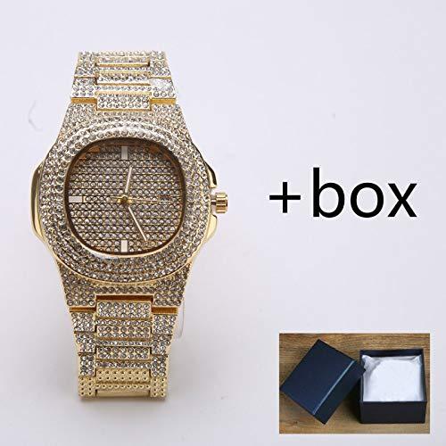 - Majinz Store Diamond Bangle Bracelet Mens Watches Fashion Diamond Automatic Date Quartz Watch Men Gold Stainless Steel Hip Hop Mens Watches Top Brand Luxury Clock