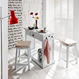 NovaSolo Halifax Kitchen Table Set with Stools and Cushions, White