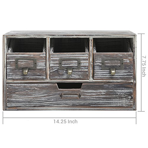 Rustic Brown Torched Wood Finish Desktop Office Organizer Drawers / Craft Supplies Storage Cabinet by MyGift (Image #6)