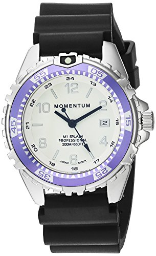 Women's Quartz Watch | M1 Splash by Momentum| Stainless Steel Watches for Women | Dive Watch with Japanese Movement & Analog Display | Water Resistant ladies watch with Date –Lume  / Purple Rubber