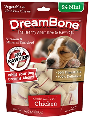 DreamBone DBC-00252 Mini Chews With Real Chicken 24 Count, Rawhide-Free Chews For Dogs