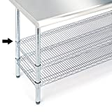 "Seville Classics SHE18308SH Commercial NSF Stainless Steel Top Worktable Shelf, 18"" D x 48"" W x 1"" H"