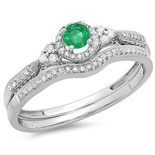 18K White Gold Round Emerald And White Diamond Ladies Halo Style Bridal Engagement Ring Set (Size 8) by DazzlingRock Collection