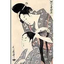 Japanese Art Woodblock Notebook no.8: Japanese ukiyo style woodblock print notebook, journal book. Attractive 6x9 lined Japanese art blank book featuring two traditional Kimono women in kimono traditional Kanzashi. Kitagawa Utamaro