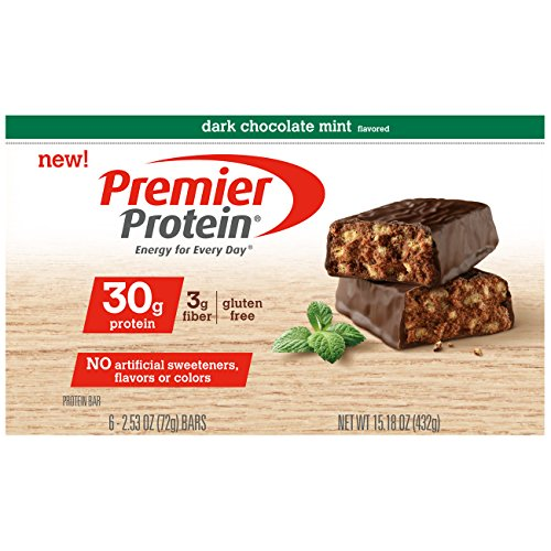 Premier Protein Nutrition Bar, Dark Chocolate Mint, 30g Protein, 6 (Caramel Double Chocolate Crunch Bars)