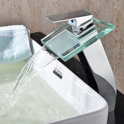 Lightinthebox® Deck Mount Widespread Waterfall Bathroom Sink Faucet with Glass Spout Bathtub Mixer Taps Bath Tub Faucets Filter Curve Spout Single Hole Vessel Sink Lavatory Faucets Drain Not Included Valve Included