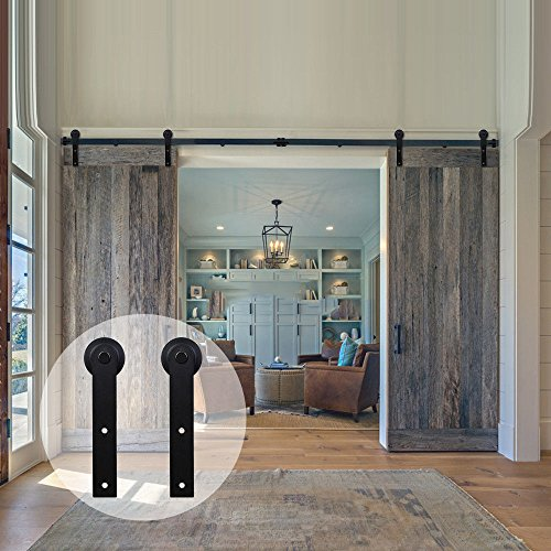 WINSOON Sliding Barn Door Hardware Double Door 16ft Track Kit for Interior Exterior Kitchen Cabinet Hallway (16' Bolt Hole)