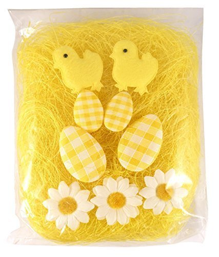 CREAM Easter Bonnet Decorating Kit 10 Piece Chicks Eggs Flowers & Grass Craft Pack Davies Products