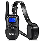 Anpro Rechargeable 330 Yards Remote Training Collar with Beep and Shock for Dogs - Black