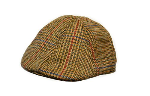 Crown Cap Scottish Tweed 6 Panel Duckbill Ivy Cap, Gold Glen Check, X-Large