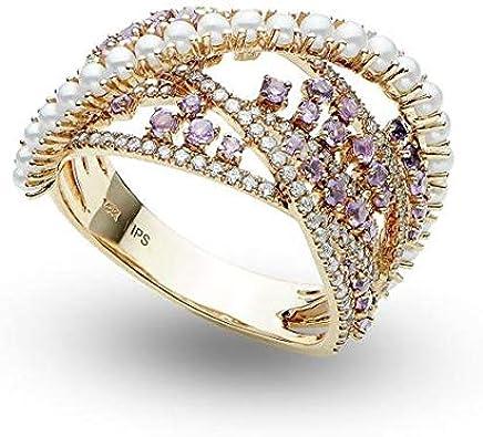 Anillo de moda con cóctel de perlas, diamantes y amatista Oro rosado de 14 k 0.99ct, anillo de compromiso de oro para siempre, anillo de bodas, anillo de oro de la promesa