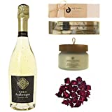 Luxury Wine Bath Set Featuring Gold Arabesque (Non-Alcoholic Sparkling White Wine with 24K Gold), Cypress & Oak Candle by Chesapeake, and Harmonize Juniper Grapefruit Bath Salts by Truly Aesthetic