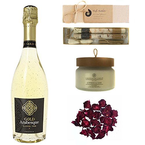 Luxury Wine Bath Set Featuring Gold Arabesque (Non-Alcoholic Sparkling White Wine with 24K Gold), Cypress & Oak Candle by Chesapeake, and Harmonize Juniper Grapefruit Bath Salts by Truly Aesthetic by Wines For Mothers