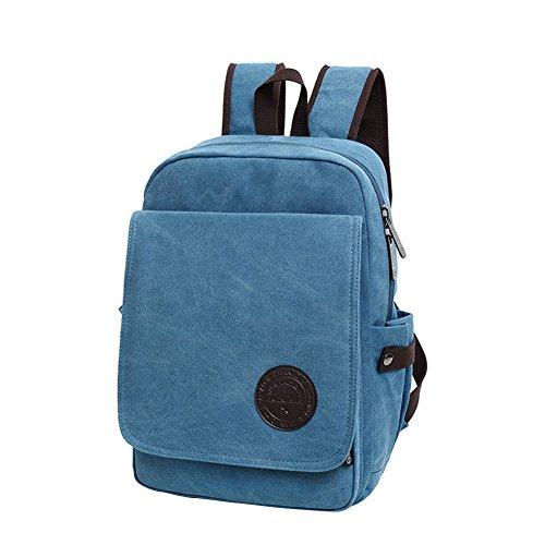 WTUS Hombre y Mujer nuevo lienzo mochila mochila los viajes de estudiantes hombres y mujeres de paquetes informáticos Azul