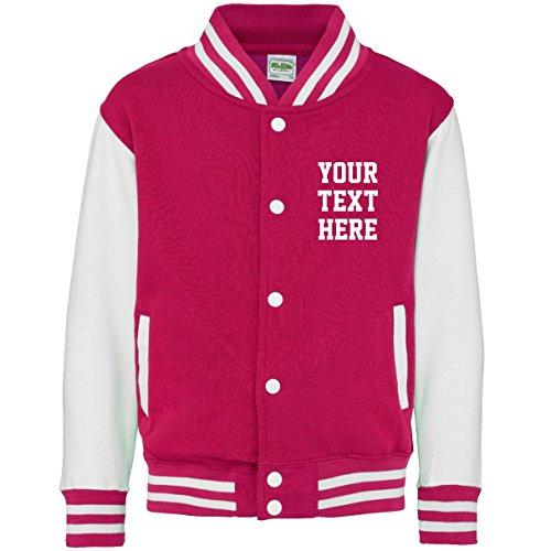 Direct 23 Ltd Personalized Kids Varsity Jacket (9-11 Years, Hot Pink/White)]()